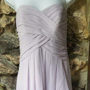 Davids Bridal strapless lilac formal long dress si